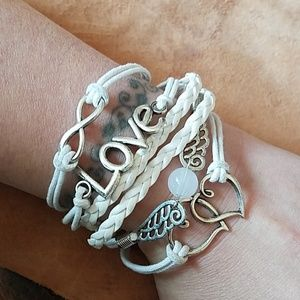 Pretty white cord and leather bracelet